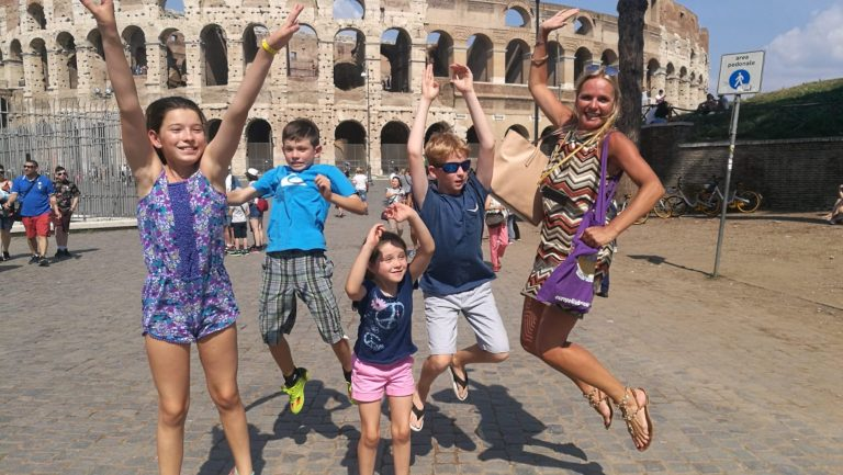 kids having fun during a Colosseum Group Tour with Rome for kids