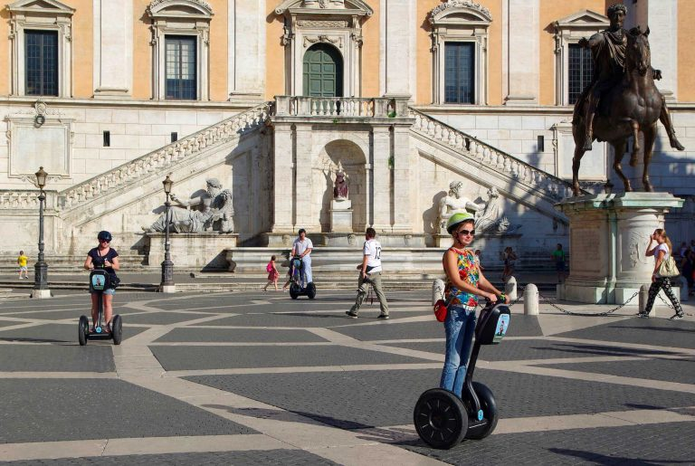 Girl during a Rome for kids segway tour